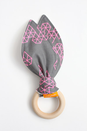 Grey and Pink Geometric Diamonds wooden teether