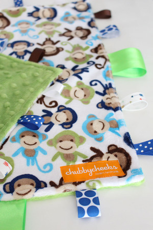 Blue / Green monkey tag blanket, size large