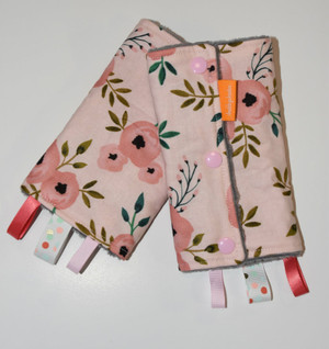Chic Pink Flowers with grey minky back baby carrier drool pads
