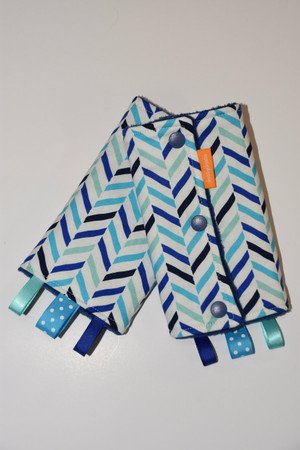 Blue Herringbone baby carrier drool pads
