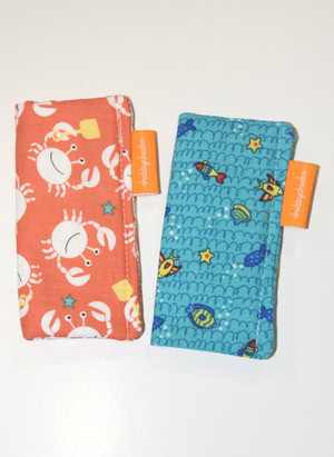 2 pack freezie cozy in coral crab and blue fish