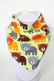 Bermuda Bear bandana bib with organic bamboo back