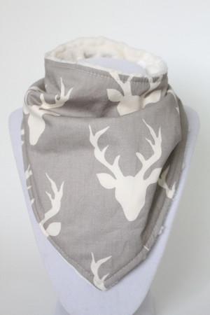 Buck in Mist bandana bib with ivory minky back