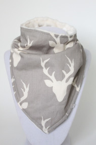 Buck in Mist bandana bib with ivory minky back