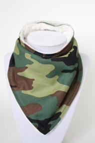 Green Camo bandana bib with ivory minky back