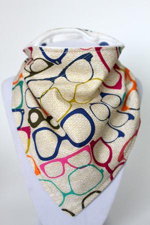 Colourful Glasses bandana bib with bamboo back