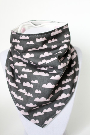 Pink Clouds bandana bib with organic bamboo back