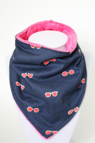 Pink Sunglasses bandana bib with pink minky back
