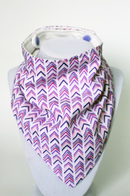 Purple Tone Chevron bandana bib with bamboo back