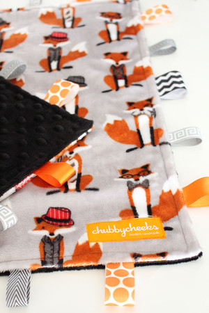 Mr. Fox tag blanket (large) with black minky back.