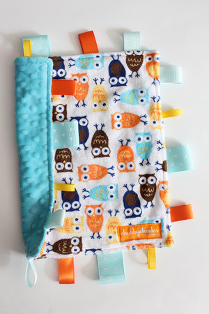 Orange/Blue Owls tag blanket (small) with teal minky back.