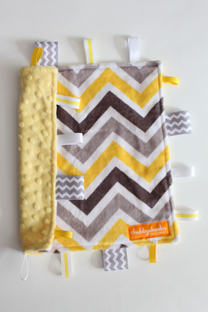Yellow/Grey Chevron tag blanket (small) with yellow minky back.