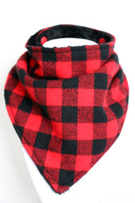 Buffalo Plaid bandana bib with black minky back.