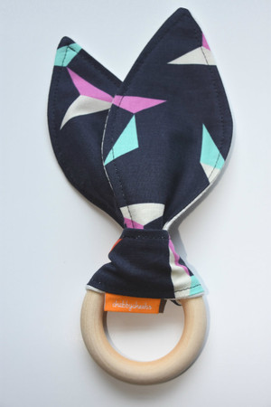 Origami patterned wooden teether