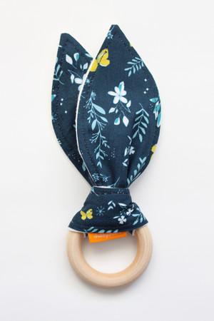 Navy Butterfly Garden wooden teether