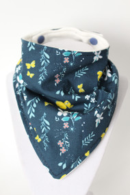 Navy Butterfly Garden bandana bib with organic bamboo back.