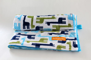 Blue Giraffes stroller blanket with blue minky back
