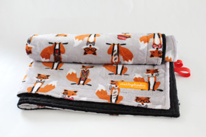 Mr. Fox stroller blanket with black minky back