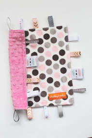 Small Grey / Pink Dots tag blanket with pink minky back.