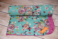 Tribal Lush Floral minky backed blanket