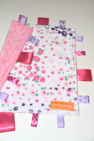 Forest Fields Pink with pink minky back small tag blanket