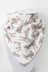 Bunny Rabbits bandana bib with organic bamboo back.