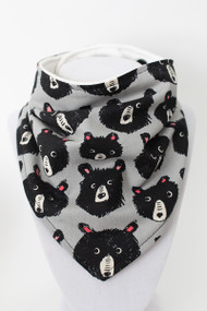 Cozy Grey Teddy's bandana bib with organic bamboo back.