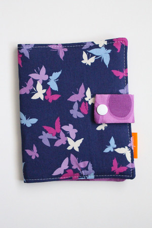 Purple Butterflies crayon wallet closed view