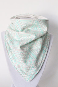 Geometric Triangles bandana bib with organic bamboo back.