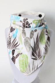 Cactus bandana bib with organic bamboo back.