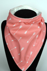 Arrows on coral bandana bib with bamboo back
