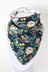 Hedgehog Floral bandana bib with bamboo back