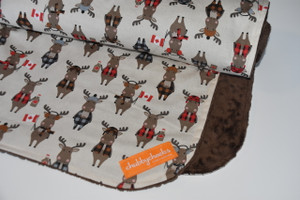 Purely Canadian Moose with brown minky back blanket