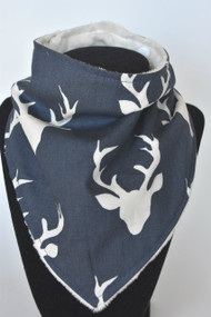 Buck in Twilight with ivory minky back bandana bib
