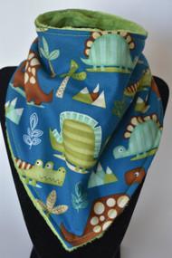 Big Dinos on Blue bandana bib with green minky back