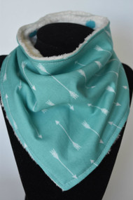 Arrows on Teal bandana bib with ivory minky back