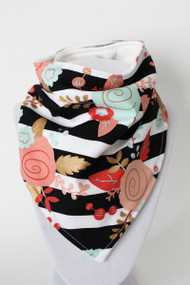 B&W Floral Stripe Bandana Bib with bamboo back.