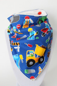 Lego Construction bandana bib with bamboo back.