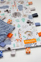 Large Zoo Animals tag blanket with denim minky back.