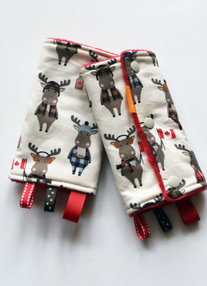 Purely Canadian Moose baby carrier drool pads with red minky back.