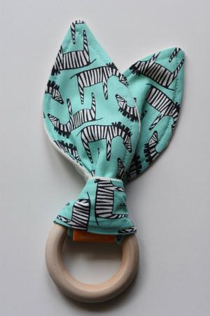 Zig Zag Zebra in Aqua wooden teether