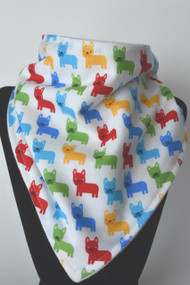 Mini French Bull Dog in Primary bandana bib with bamboo back