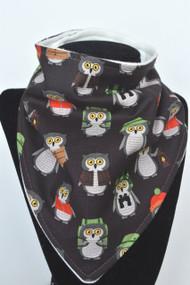 Campsite Owls bandana bib with bamboo back