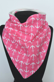 Pink Anchors bandana bib with bamboo back