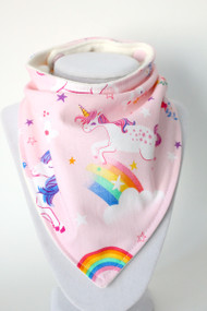 Pink Unicorn bandana bib with bamboo back