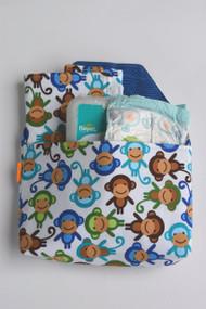 Monkey Diaper-to-go bag open view