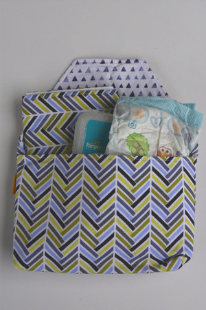 Herringbone Mix diaper-to-go bag open view
