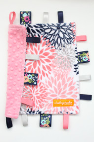 Navy/Pink Floral Blooms 2 small tag blanket with pink back