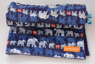 Navy Elephant Parade stroller blanket with navy minky back.