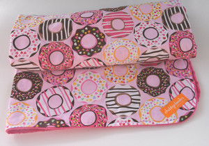 "Donut blanket with hot pink minky backing.  Slightly oversize blanket measuring 34"" x 40""."
